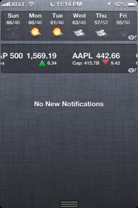 iOS notification center screenshot